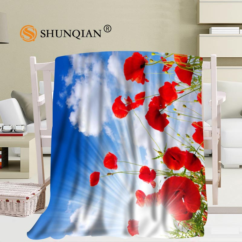 Custom Poppies Flowers Poppy Blanket Soft DIY Your Picture Decoration Bedroom Size 58x80Inch,50X60Inch,40X50Inch A7.10