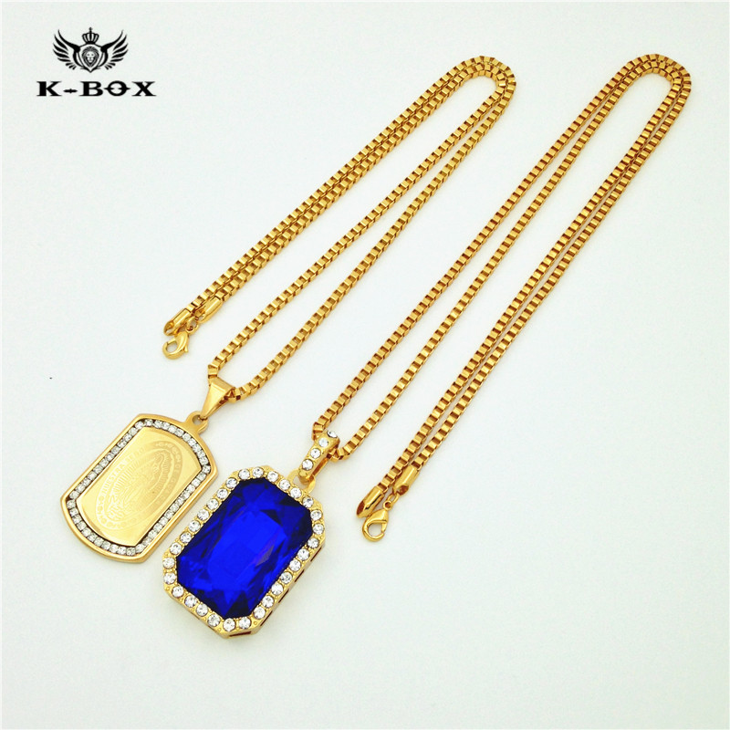 new hip hop iced out combo set gold nuestra senora dog tag red blue