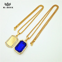 New Hip Hop Iced Out Combo Set Gold Nuestra Senora Dog Tag Red Ruby Blue Stone