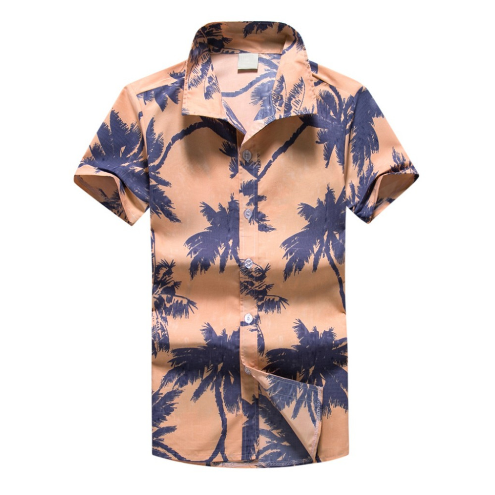 Men Hawaiian Print Shirt Sports Beach Quick Dry Blouse Top Blouse Mens Summer Short Sleeve Button Down Casual Large Size Y528