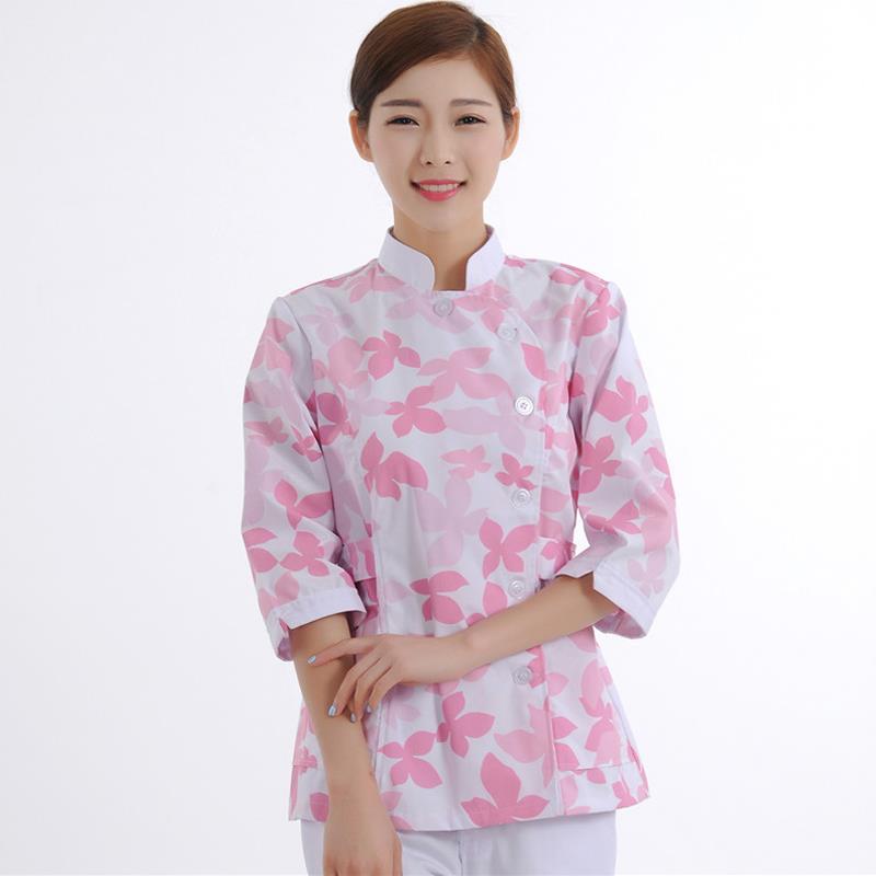 2019 New Leaf Print Medical Scrubs Women Medical Clothing Tops In Cotton Nursing Work Uniform Dental Hospital Uniforms Shirt