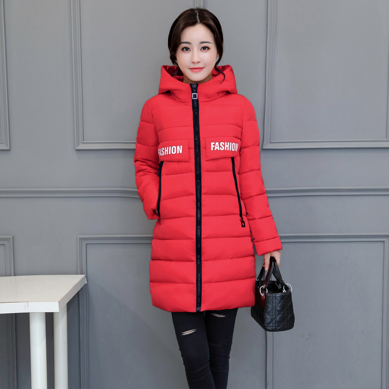 Warm Winter New army blue Fashion Jacket 2019 Abrigos Hb351 Thick Green Padded Slim Qazxsw Outwear Coat Mujer pink Black Cotton red Hooded gray Women Parkas Long q6wB5CE