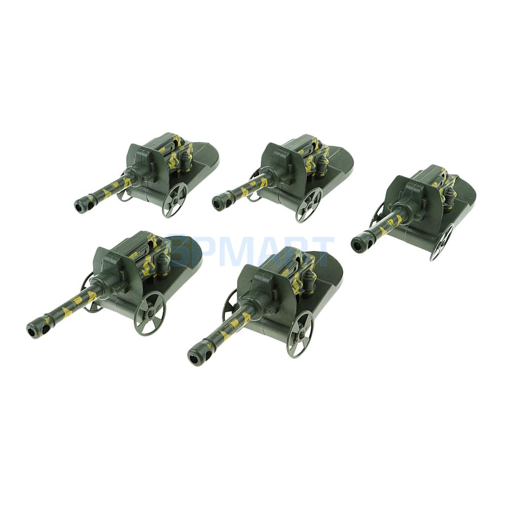 5Pcs Military Missile Launching Tank Cannon Truck for War Game Scene Building