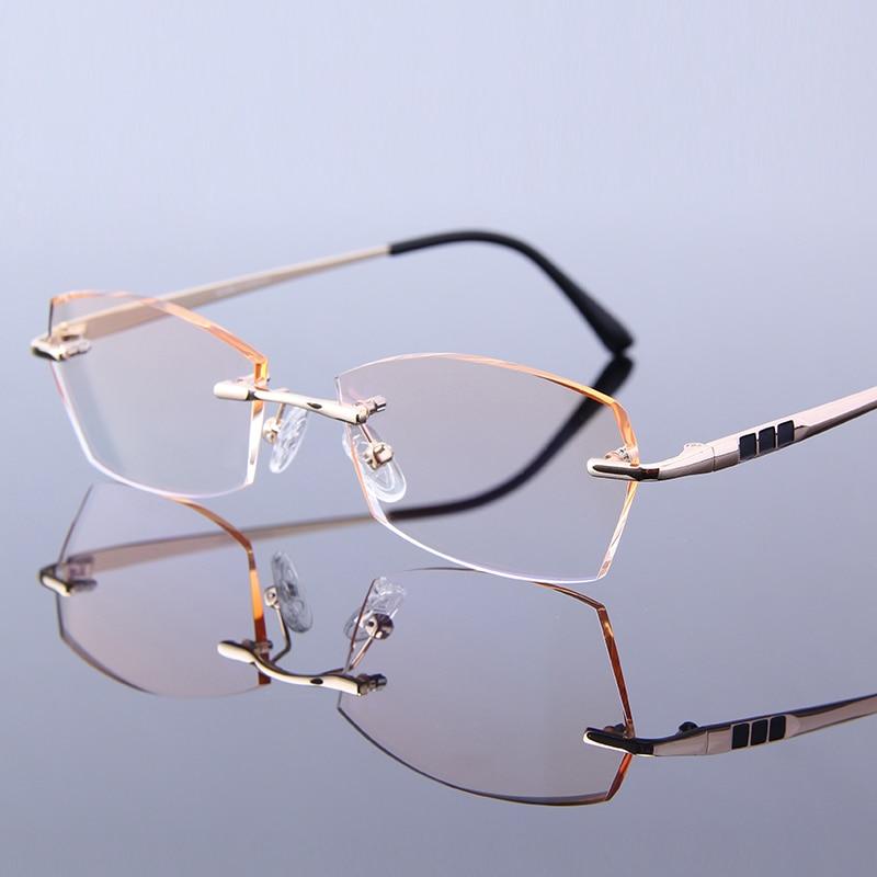 cd0ab07bcdc Luxury Rimless Reading Glasses Men Eyeglass Gentleman Hyperopia Anti ...