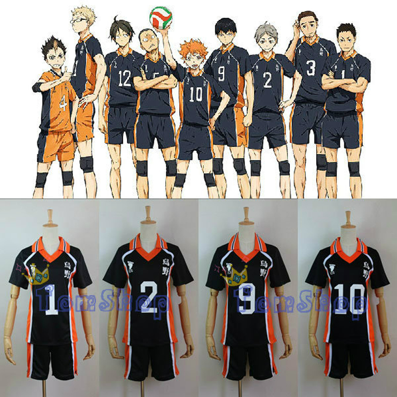 Anime Haikyuu!! Karasuno High School Volleyball Club Hinata Shyouyou/Kageyama Tobio Jersey Cosplay Costume 8 Numbers to Choose