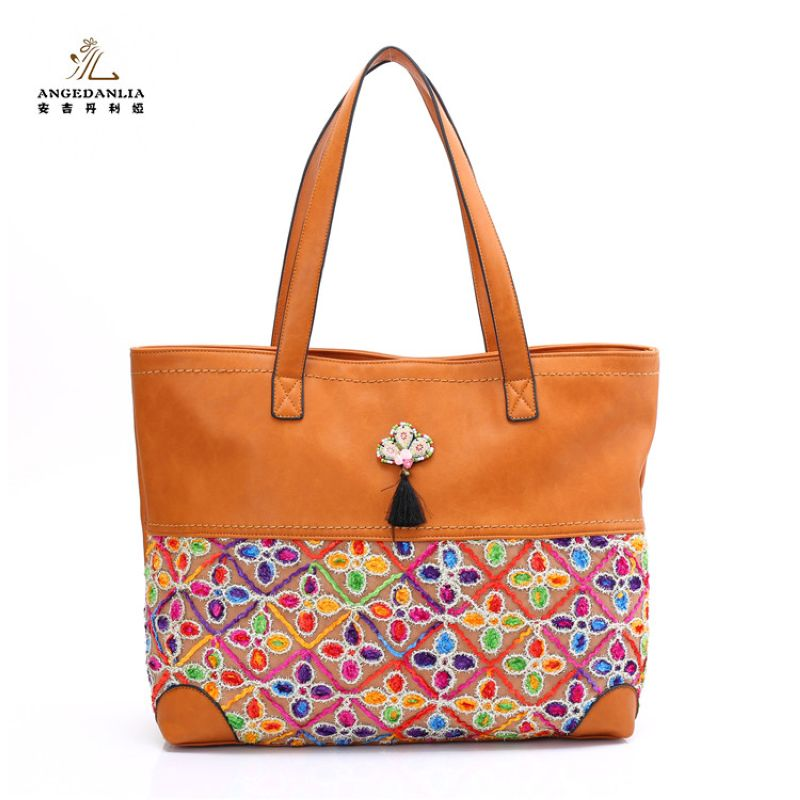 women Bohemian orange large Handbag flower pattern beading flower tassel shoulder bag Cotton Fabric Canvas national ethnic bag 2016 summer national ethnic style embroidery bohemia design tassel beads lady s handbag meessenger bohemian shoulder bag page 2