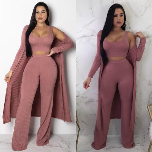 2018 New Women 3Pcs Tracksuit Long Coat +Crop top +Pants Sets Casual Autumn Outwear Solid Sweater Suits Plus Size S-XXL
