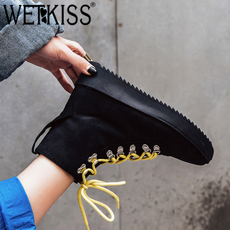 WETKISS Genuine Leather Women Ankle Boots Round Toe Flat With Footwear Cross Tied Female Boot Motorcycle Platform Shoes Woman women ankle boots handmade genuine leather woman boots autumn winter round toe soft comfotable retro boot shoes female footwear