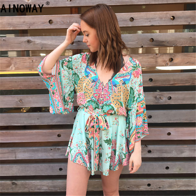 Bohemian Summer peacock Floral print Beach Rompers Women short sleeve Jumpsuit Ladies Vertical Backless Cutaway Rompers