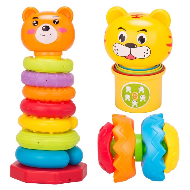 New Rushed Unisex Tamiya Miniature Brinquedos New Rich Rainbow Piles Cup + Bear Circle Fitness Ball Baby Toys Set Educational