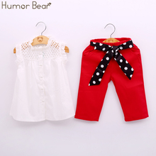 Humor Bear New Summer Children Clothing Fashion Girl Lace White Blouses+ Red 7 Minutes Of Pants Clothing Set Kids Clothes Sets