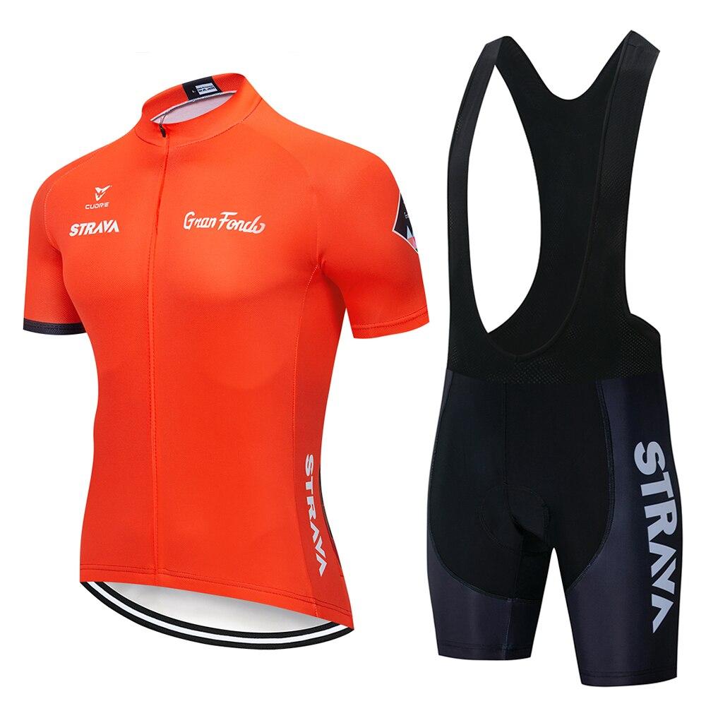 2019 STRAVA Orange Radfahren Trikots Set Sommer Radfahren Tragen Mountainbike Kleidung Fahrrad Kleidung MTB Fahrrad Kleidung Radfahren Anzug