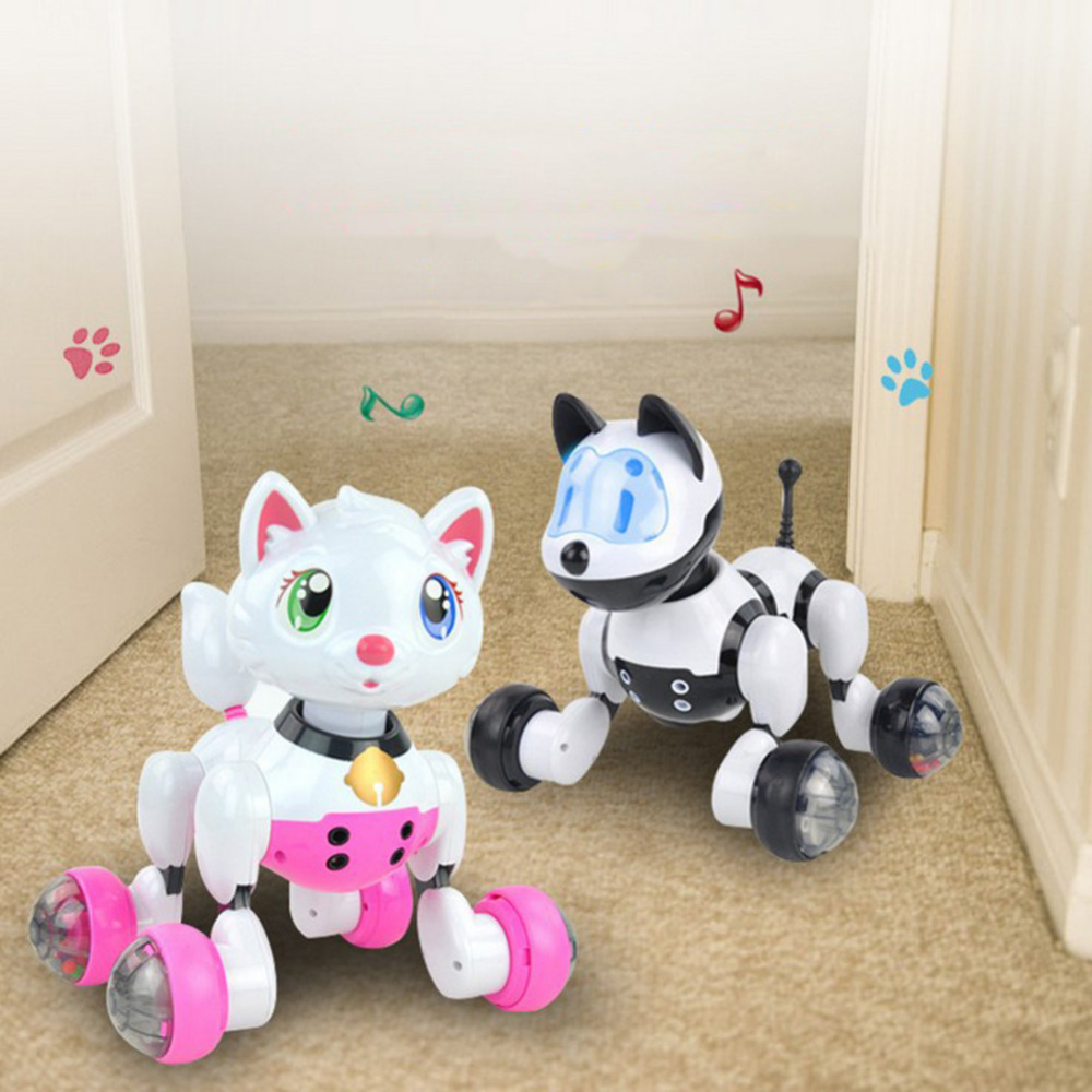 Voice Control Electronic Dog Cat Robot Smart Sounding Interactive Dance Sing Walking Puppy Action With Gesture Sensing Toys
