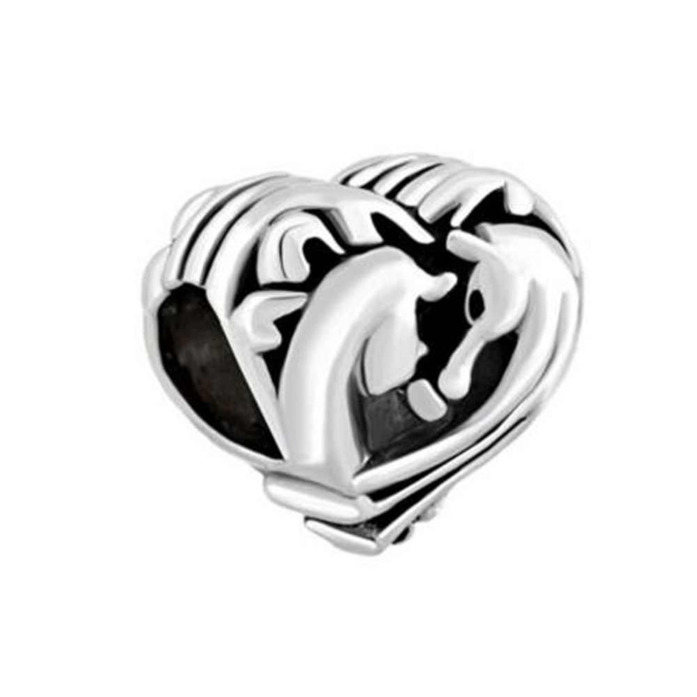 911fb1448 Free shipping Filigree Heart Couples Horse Best Friends Forever Charms Beads  fit Pandora bracelet
