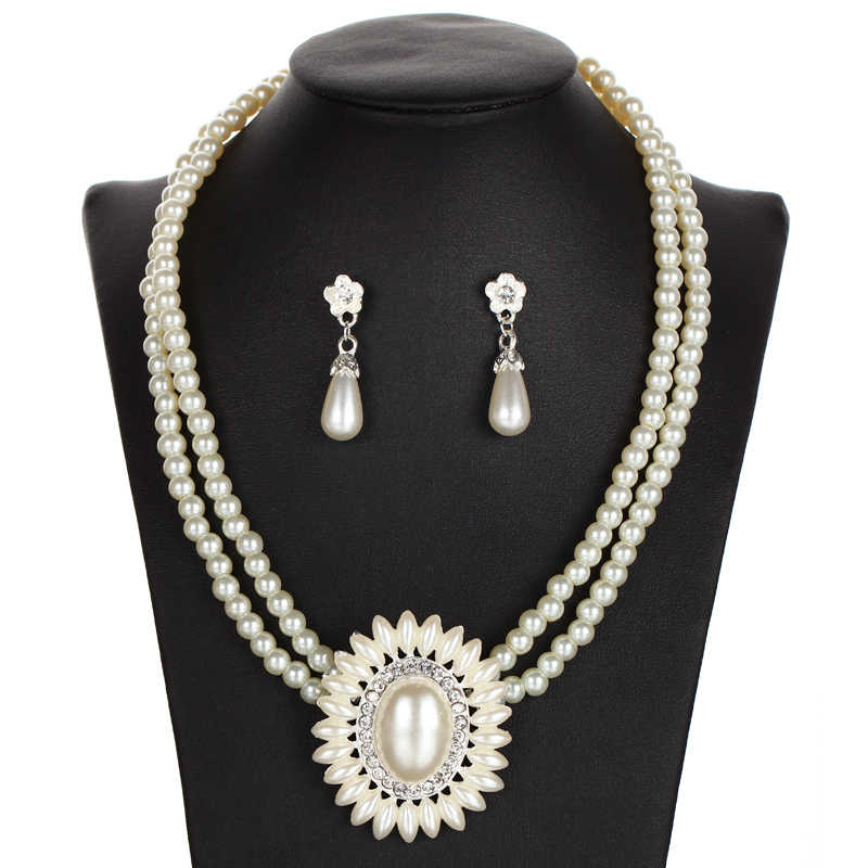 MINHIN בוהמיה חיקוי שרשרת פניני עגילי סט דובאי אפריקאי חרוזים תלבושות Acessories נשים כלה חתונה תכשיטי סטים