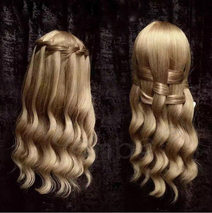 Nouvelle Doux D'or Cheveux Formation Chef de Cheveux Humains Avec Des Animaux Cheveux Poupées Mannequins Professionnel Style Tête Tête de Mannequin Nice