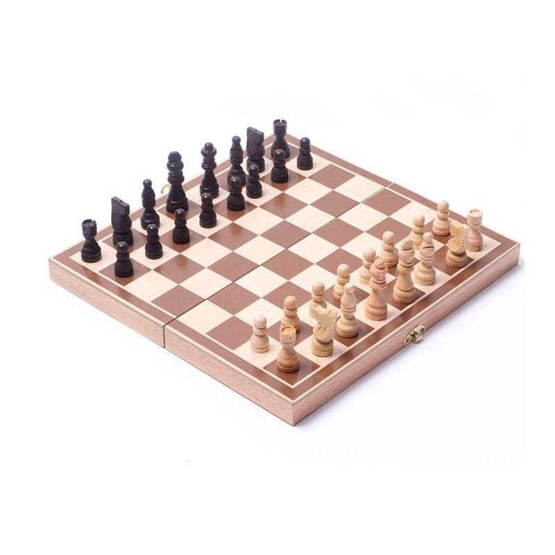 Թեժ վաճառք Փայտե շախմատի հավաքածուն ծալովի միջազգային շախմատի խաղերի տախտակի ամանորյա նվեր