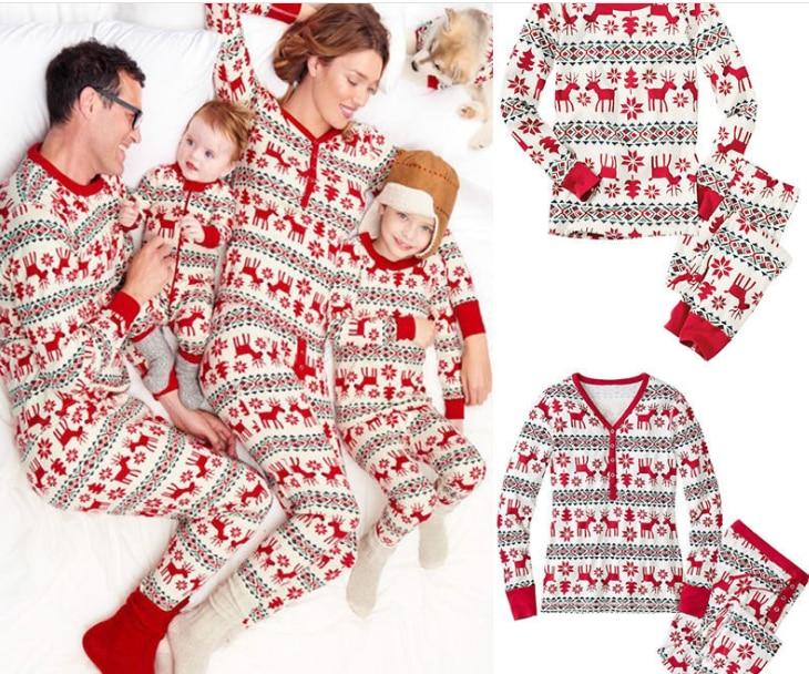 Familie Neue Jahr Familie Aussehen Passenden Kleidung Weihnachten Pyjamas Baby Strampler Setzt Papa und Sohn Mutter und Tochter Outfits Familie
