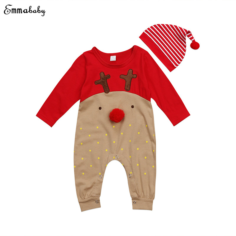 81efee743 Buy Christmas Newborn Baby Boy Girl Clothes Long Sleeve Deer Cartoon ...