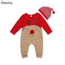 Christmas Newborn Baby Boy Girl Clothes Long Sleeve Deer Cartoon Cotton Romper Jumpsuit+Hat 2PCS Xmas Gift Children