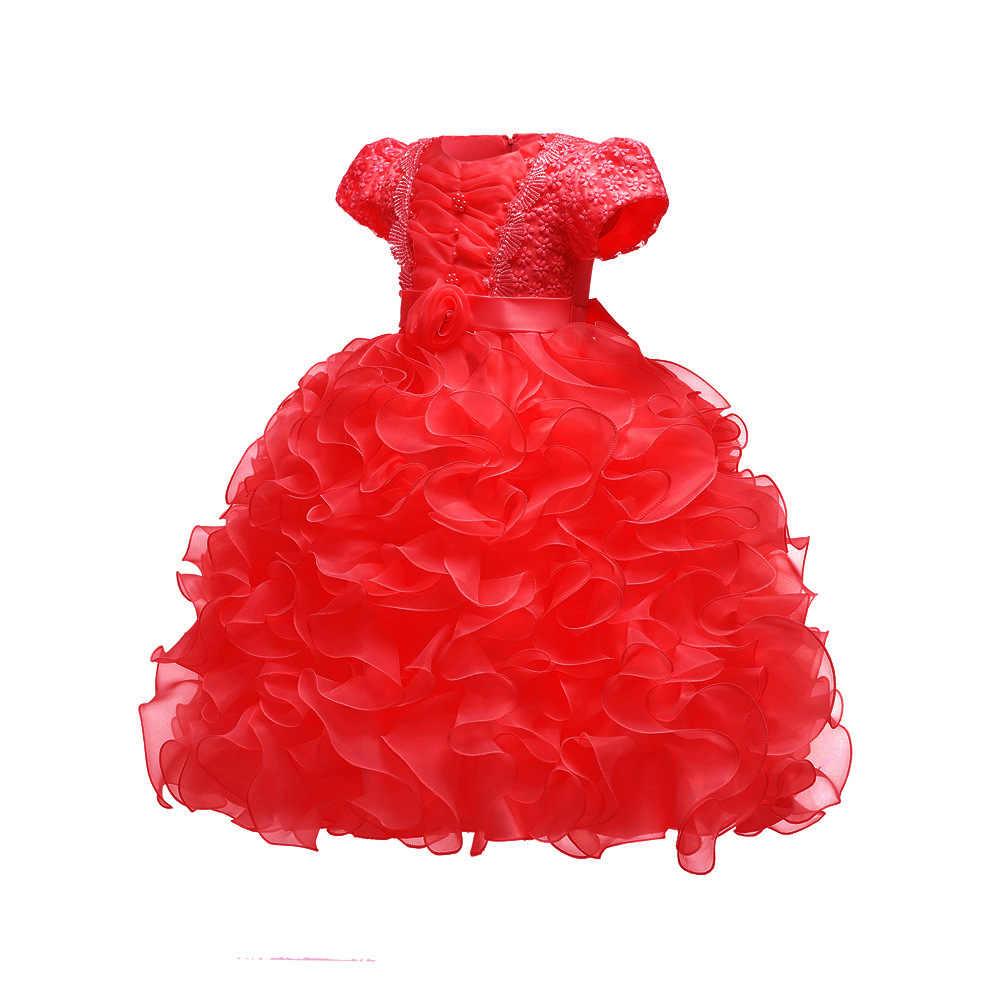 31112e82bb Elegant Baby Clothes Girl Flower cake tutu Dresses for Girls 1st year  birthday party Short Sleeve clothing 3-24M Princess dress
