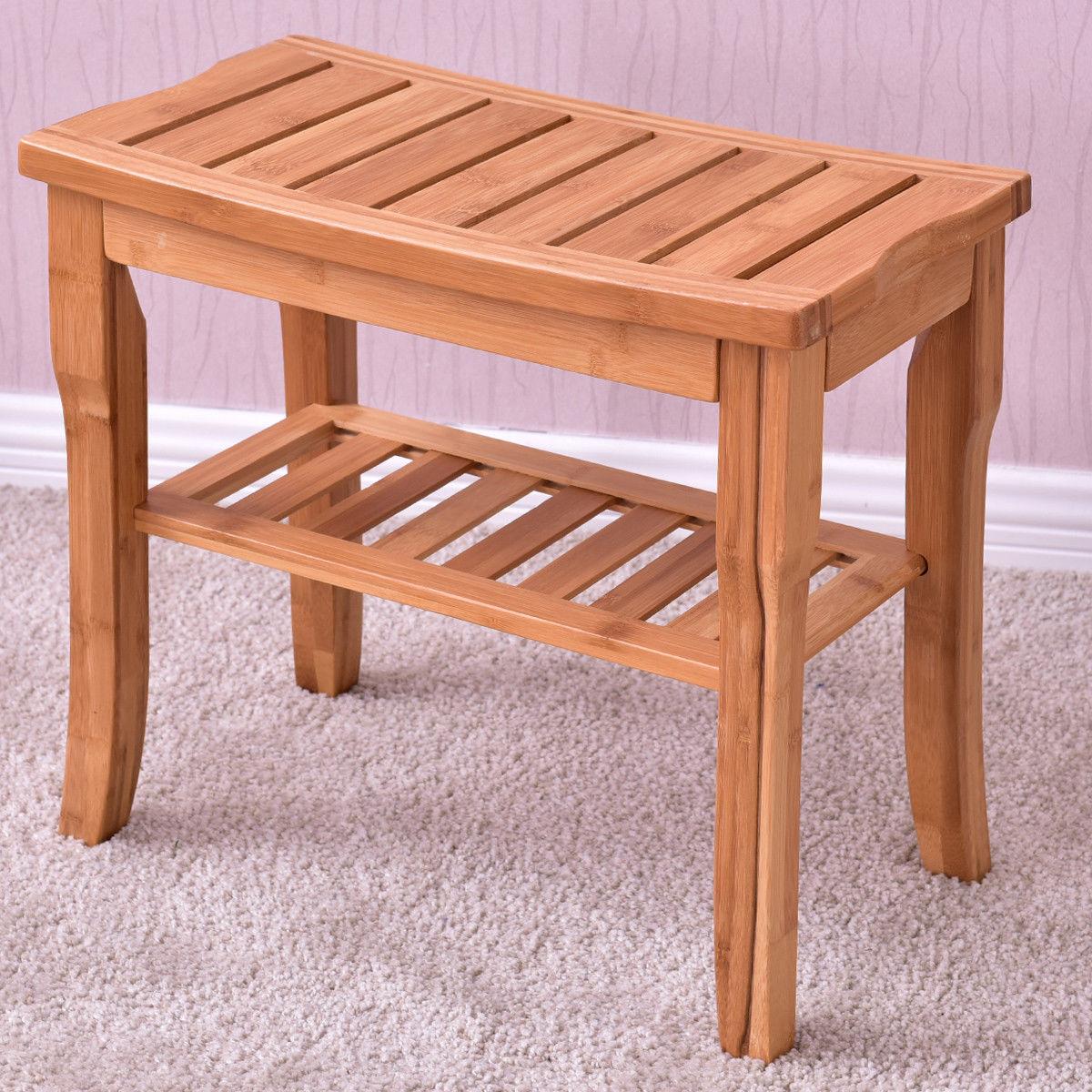 Giantex Bamboo Shower Chair Seat Bench Modern Wood Bathroom Spa Bath ...
