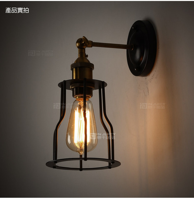 Edison Vintage Cage Wall Lamp 1 Light Iron Finished Rustic Sconce Hallway Club