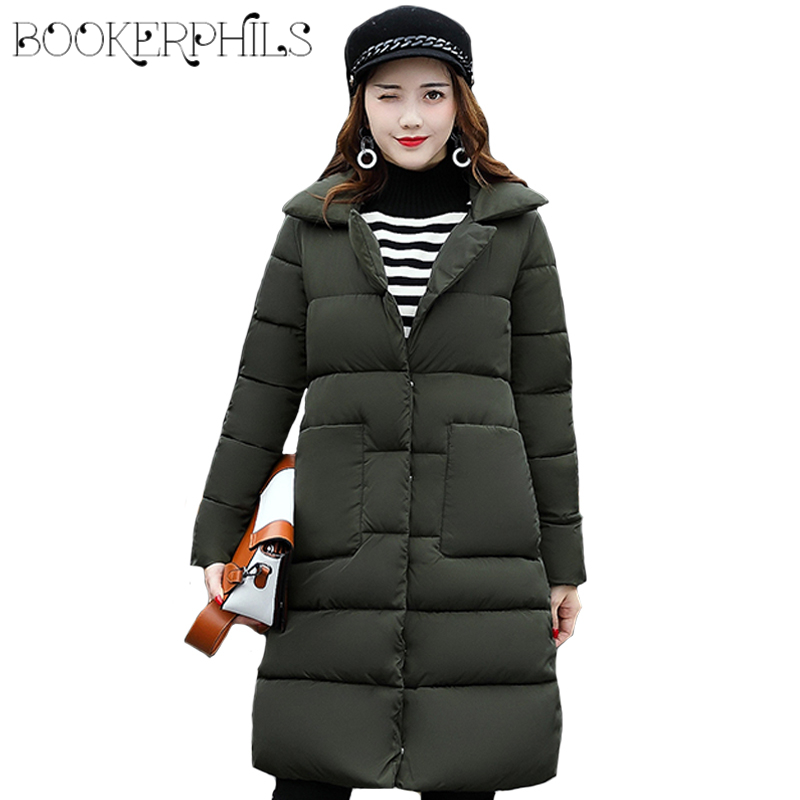 2017 Single-breasted Thick Winter Jacket And Coat For Women Cotton Padded Female Overcoat All-Match Warm Long Parka M-XXL 2015 cotton padded elderly warm thickening long cotton padded jacket mens new single breasted wholesale zipper loose coat d10
