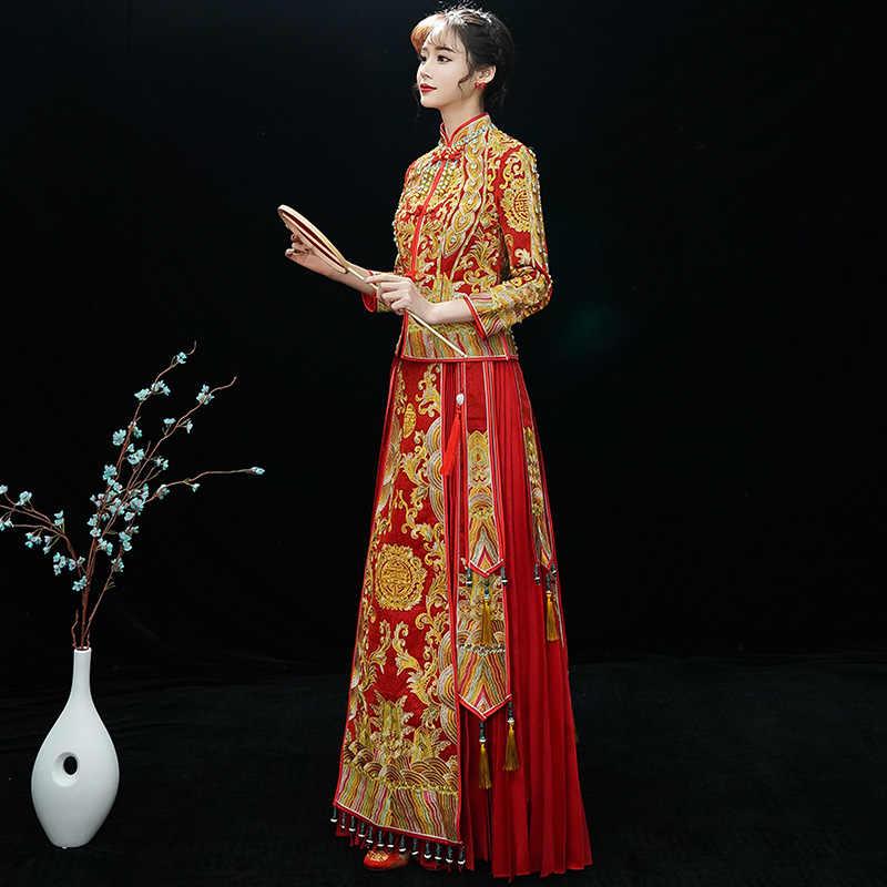 ロイヤル女性の結婚ドレス高品質ハンドプッシュ刺繍チャイナ Vestidos 全身袍花嫁の結婚式の服ドレス
