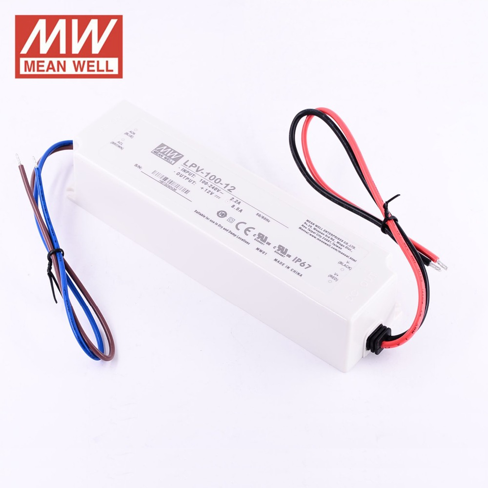 LPV-100-12 Switching Power Supply LED Driver; IP67; Input 90-264Vac; Single Output 100W 12Vdc Mean Well Suitable for LED Lighting