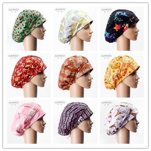 Animal cartoon Pattern Printing Bouffant Surgical Scrub Hats Women Nurse  Long hair Comfortable Lovely Cap d9afae5a73e