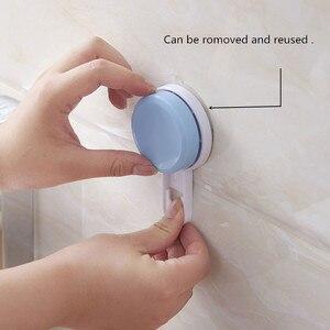 Image 4 - Estante de plástico doble para el baño, taza de succión para la cocina, soporte de almacenamiento montado en la pared, estante organizador, estantes para el hogar, accesorios