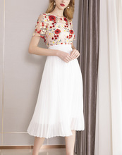 Womens sweet embroidered pleated dress New 2019 summer runway short sleeves A line A145
