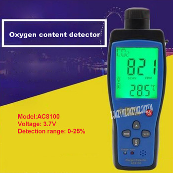 3.7V Rechargeable Oxygen Content Tester AC8100 Handheld Portable O2 Concentration Content Test Instrument 0-25% -20~50 Degrees