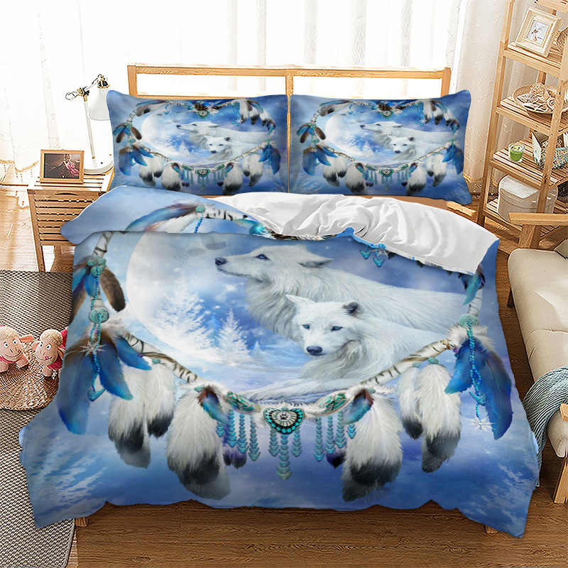 Wolf Bedding Set Heart-shaped Feather Bed Cover Pillow Cases Twin Full Queen King Super King Double Size Animal bed linens set