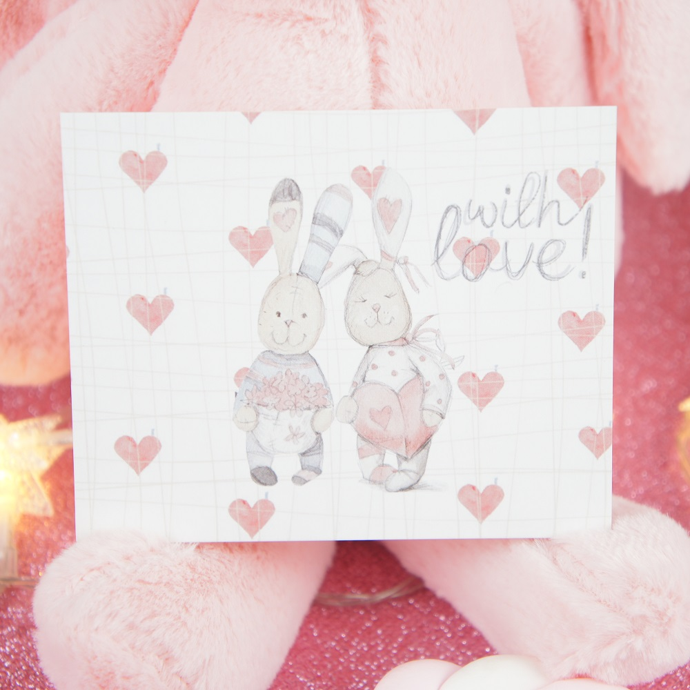 50pcs Mini with love rabbit with friend rose heart message cards multi-use Scrapbooking invitation DIY Decor party gift card