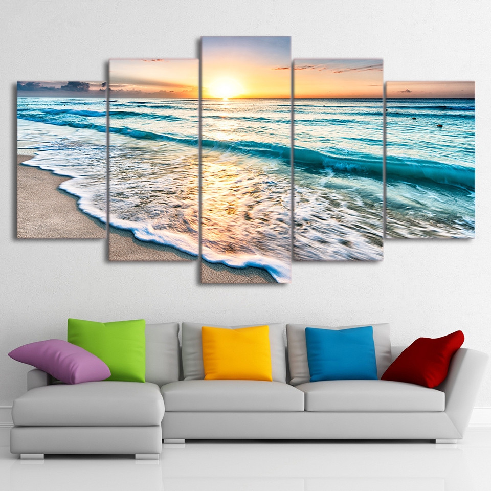 Canvas Painting Wall Art Frame Home Decor Pictures 5 Pieces Seascape Sunset Beach Sea Wave Poster Living Room HD Printed