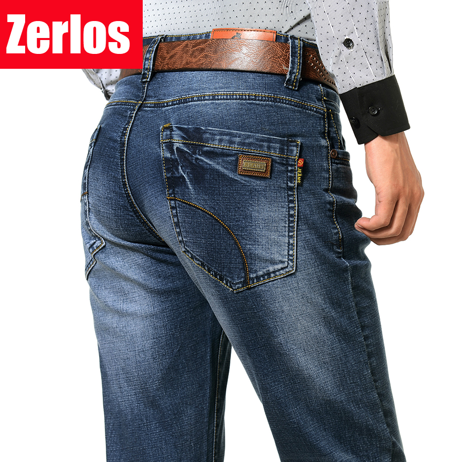 mens High stretch New jeans man straight loose fat jeans business men plus size soft and ...