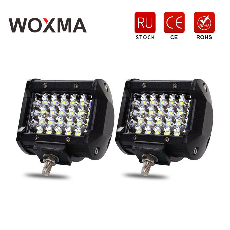 LED Car Work Light Bar 4x4 Offroad 72W 4 inch 12V Spotlight Motorcycle 6000K White Driving Lamp for Auto Accessories 4WD WOXMA