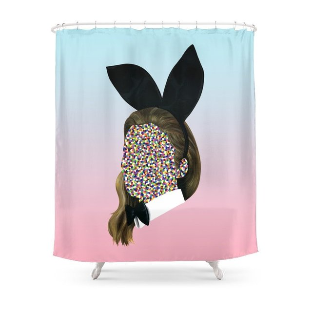 Playboy Bunny Girl Shower Curtain Waterproof Polyester Fabric Bathroom Decor Multi Size Printed With 12 Hooks