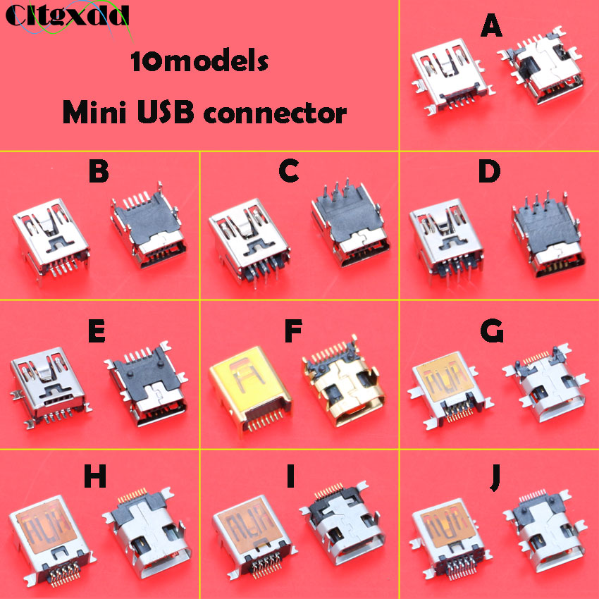 cltgxddd <font><b>10pcs</b></font> Female Mini <font><b>USB</b></font> Type B 5pin 8pin 10 Pin SMT SMD Jack <font><b>Connector</b></font> repair parts for Old Mobile Phone MID MP3 MP4 image