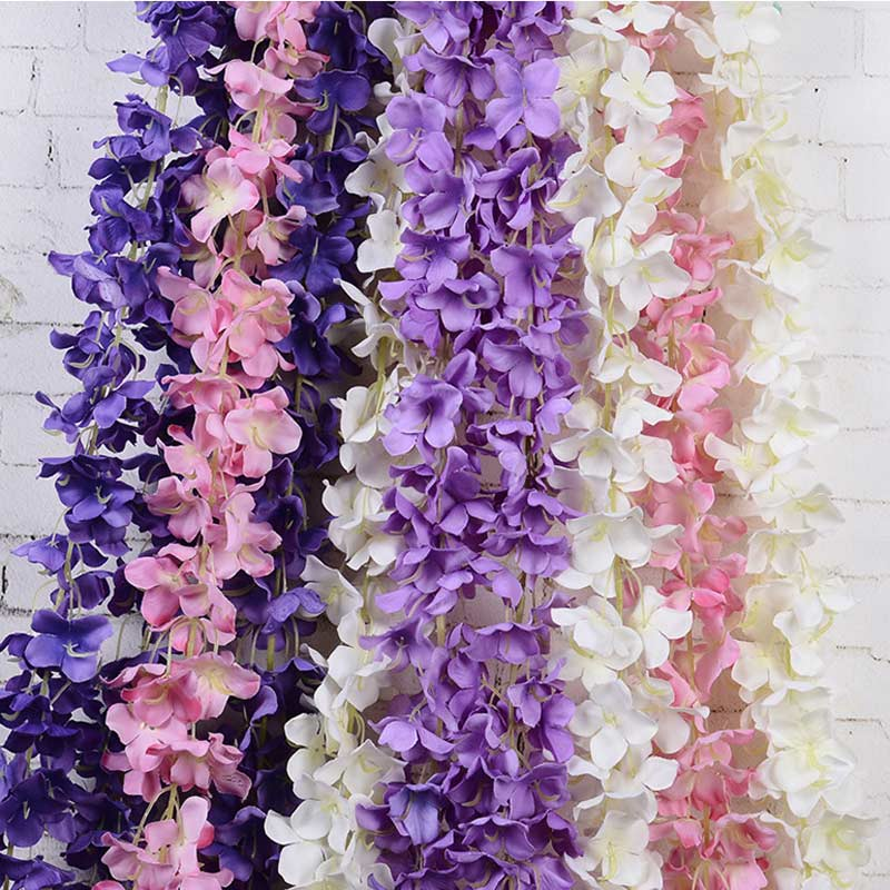 Silk Flower Rattan Strip Wisteria Flower Vine For Wedding Decoration Home Garden Party Kids Room Diy Craft Fake Flowers Plants High Quality Goods Artificial Decorations