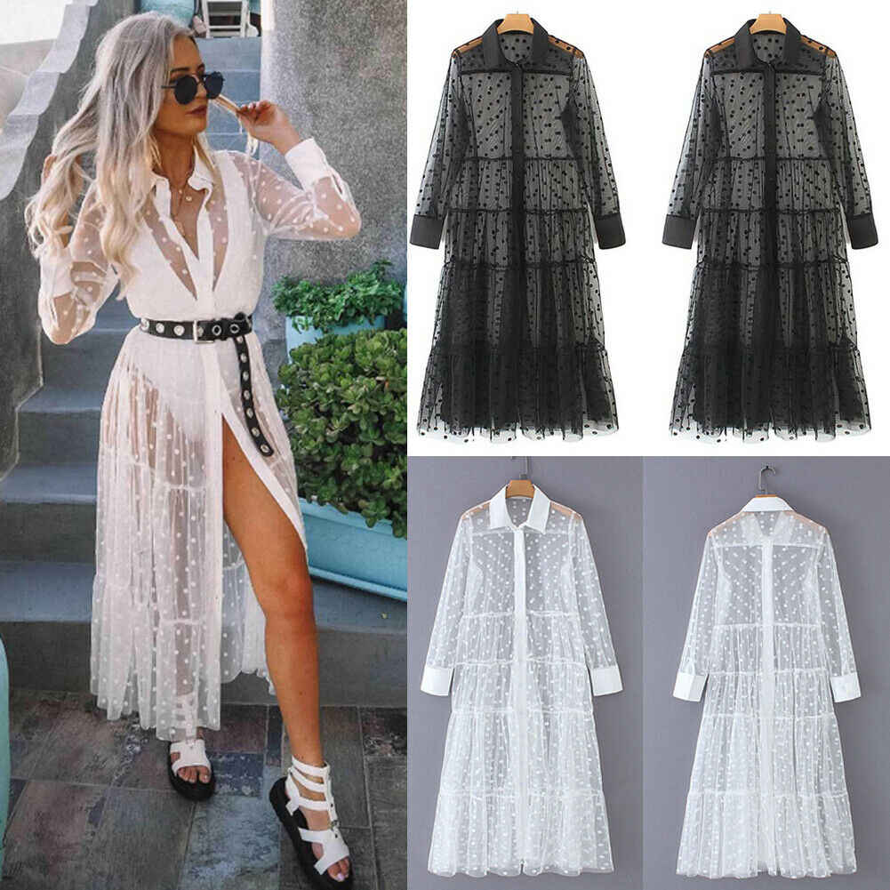 Vrouwen Mesh Sheer Transparante Polka Dot Lace Cover up V-hals Button Down Maxi Jurk See-through Party Clubwear strand Jurk