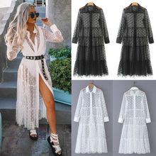 Vrouwen Mesh Sheer Transparante Polka Dot Lace Cover up V hals Button Down Maxi Jurk See through Party Clubwear strand Jurk