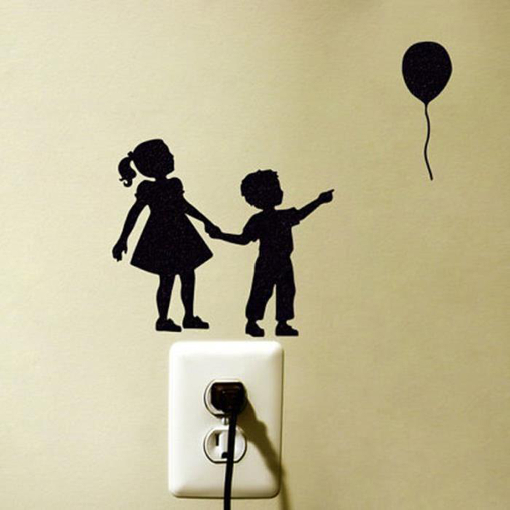 Little Girl Boy Balloon Pattern Switch Sticker Wall Art Sticker ...