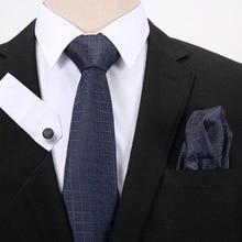 Silk Tie Sets Hanky Handkerchief Cufflinks Ties for Men Plaid Striped Pattern Accessories Business Red Black Necktie Gravatas