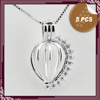 FREE SHIPPING New Arrival Heart Shape With Zircon Sterling Silver Cage Pendant Accessories