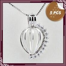 ENVÍO LIBRE, nuevo diseño de las mujeres en Forma de Corazón de Plata de Ley Pendiente de la Jaula, las mujeres de la perla colgante de circón collar