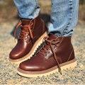 Zapatos de los hombres 100% Cuero Genuino de Los Hombres Botas de Los Hombres Clásicos de Invierno botas de nieve Botas de Trabajo Zapatos De Seguridad de Goma de Los Hombres Botas Cálidas Tamaño 38-46
