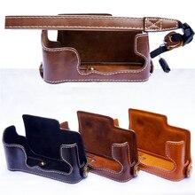 PU Leather Camera Bag Case For Fujifilm FUJI XE3 X E3 Battery Openning Half Body Cover Color Black Brown Coffee